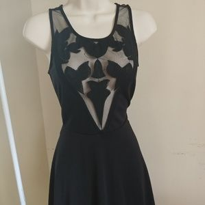 Women Black Dress with Sheer Detail Front and Back